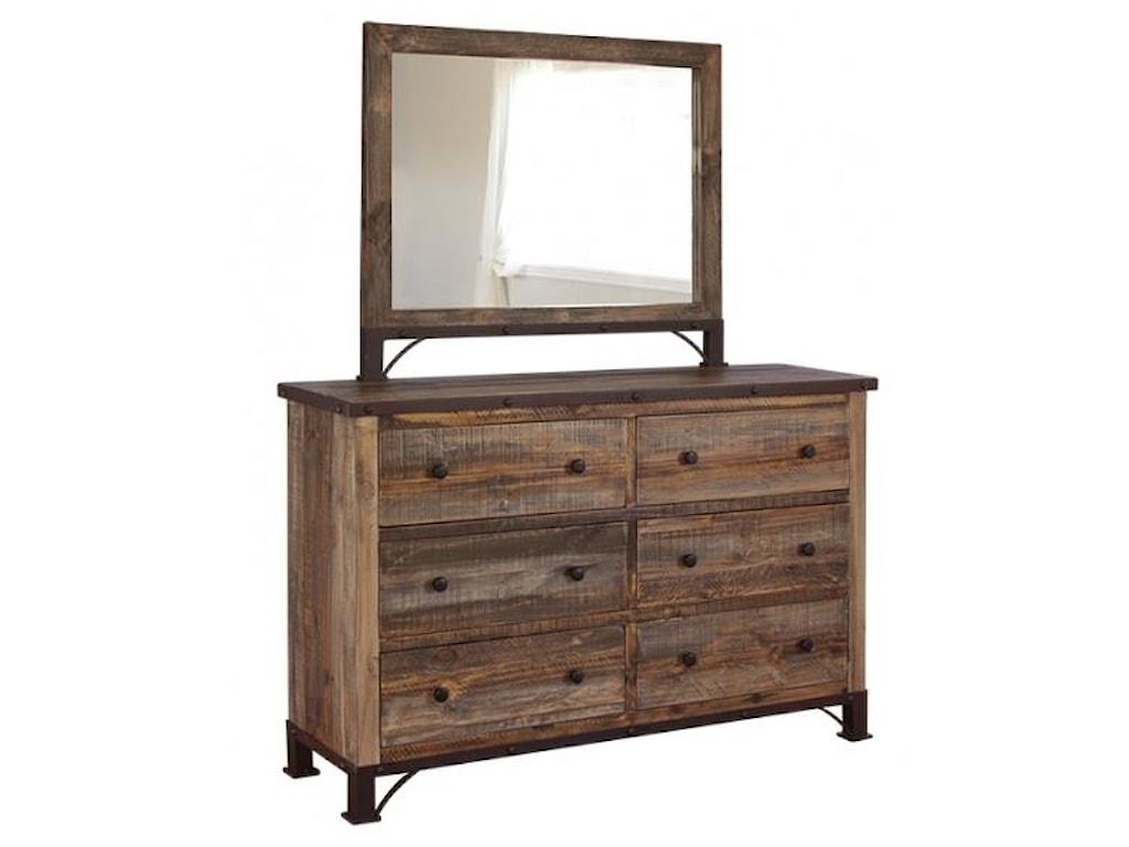 International Furniture Direct AntiqueDresser and Mirror