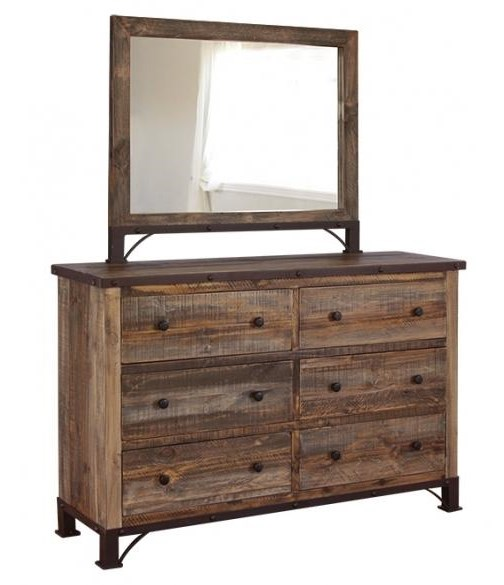 International Furniture Direct 900 AntiqueDresser and Mirror