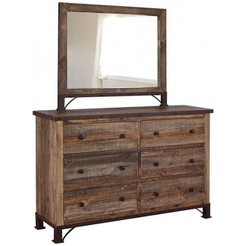 International Furniture Direct 900 Antique Rustic 6 Drawer Dresser and Mirror