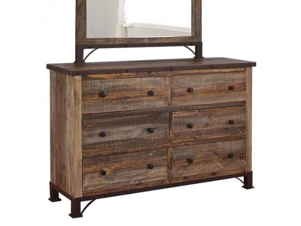 International Furniture Direct 900 Antique6 Drawer Dresser