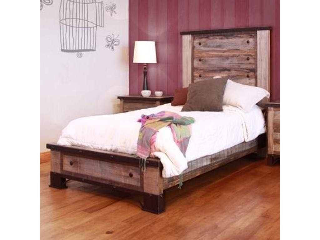International Furniture Direct 900 AntiqueFull Platform Bed