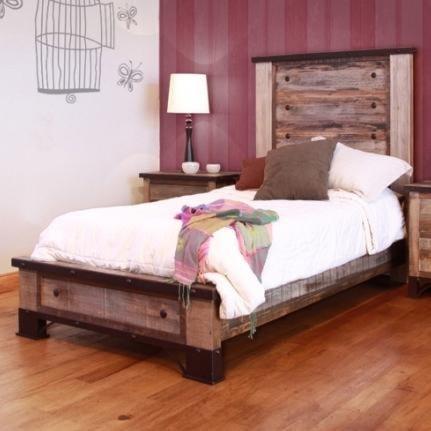 International Furniture Direct 900 Antique Rustic Full Platform Bed