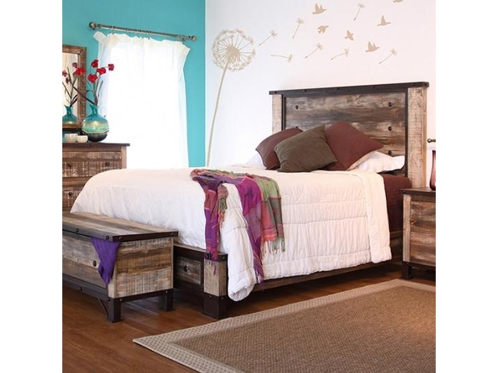 International Furniture Direct 900 Antique Rustic Queen Platform Bed