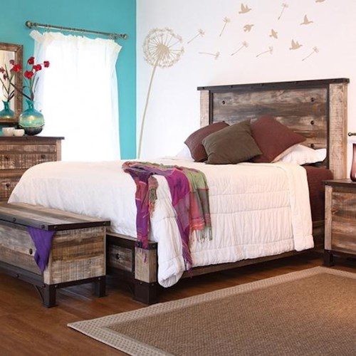 International Furniture Direct 900 Antique Rustic Queen Platform Bed