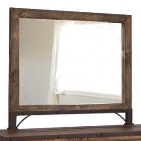 International Furniture Direct 900 Antique Rustic Wood Framed Dresser Mirror