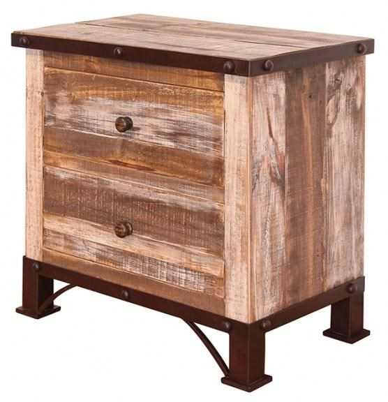 International Furniture Direct 900 Antique2 Drawer Night Stand