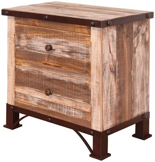 International Furniture Direct 900 Antique Rustic 2 Drawer Night Stand