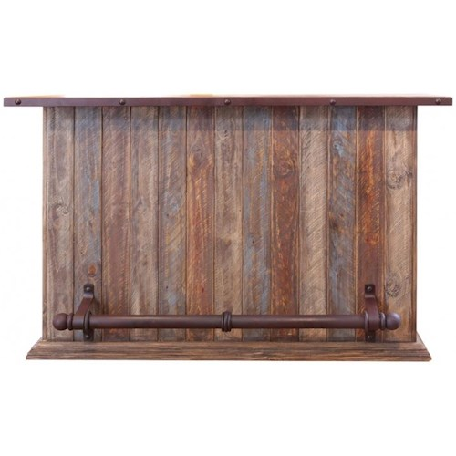International Furniture Direct 900 Antique Casual Multicolor Bar with Iron Footrest