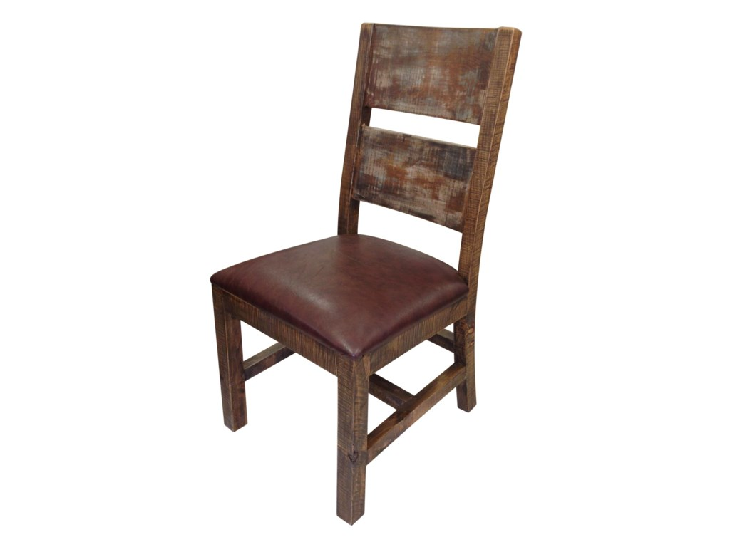 International Furniture Direct 900 AntiqueSolid Wood Chair with Bonded Leather Seat