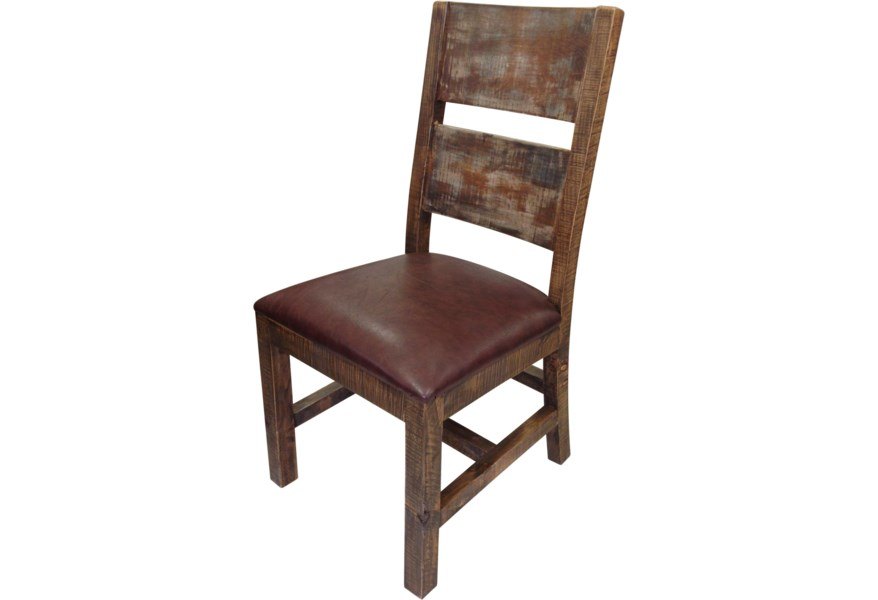 900 Antique Solid Wood Chair with Bonded Leather Seat