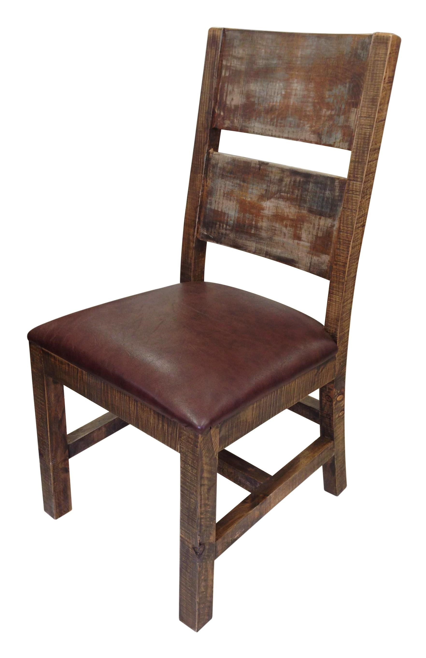 Gentil International Furniture Direct 900 Antique Solid Wood Chair With Bonded Leather  Seat