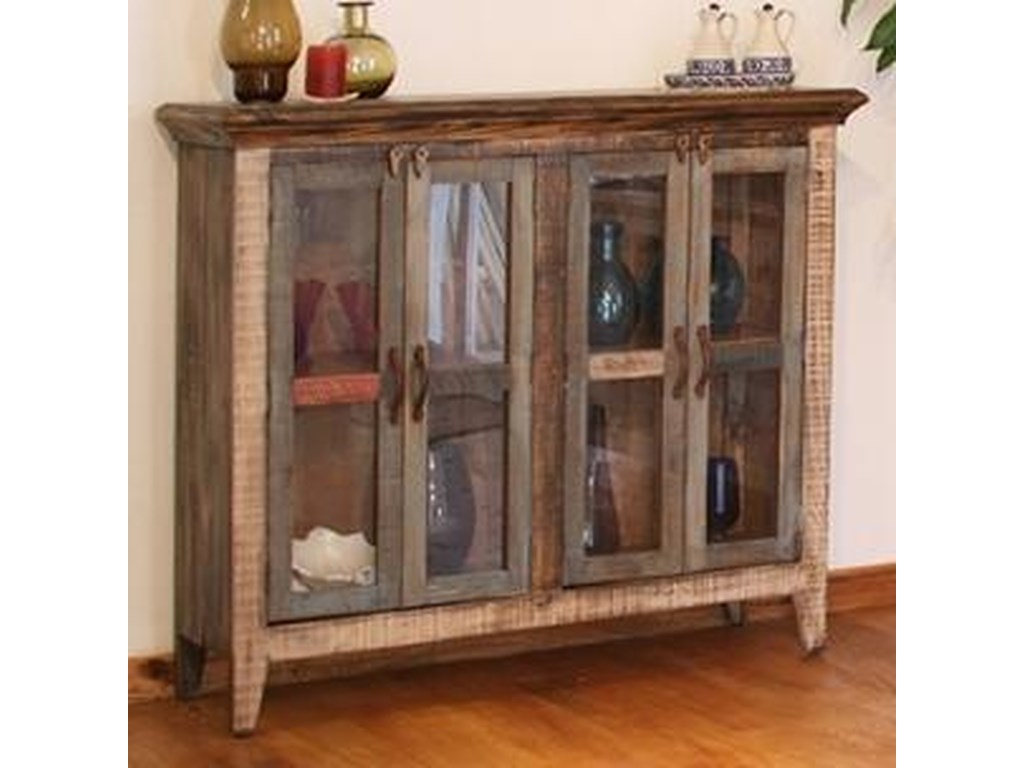 International Furniture Direct 900 AntiqueMulticolor Console with 4 Glass Doors