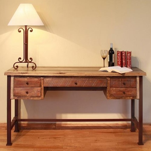 International Furniture Direct 900 Antique Antique Multicolor Writing Desk with Hand Forged Iron Base