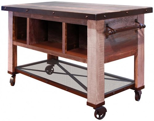 International Furniture Direct 900 Antique 5 Drawer Kitchen Island with Shelf and Casters
