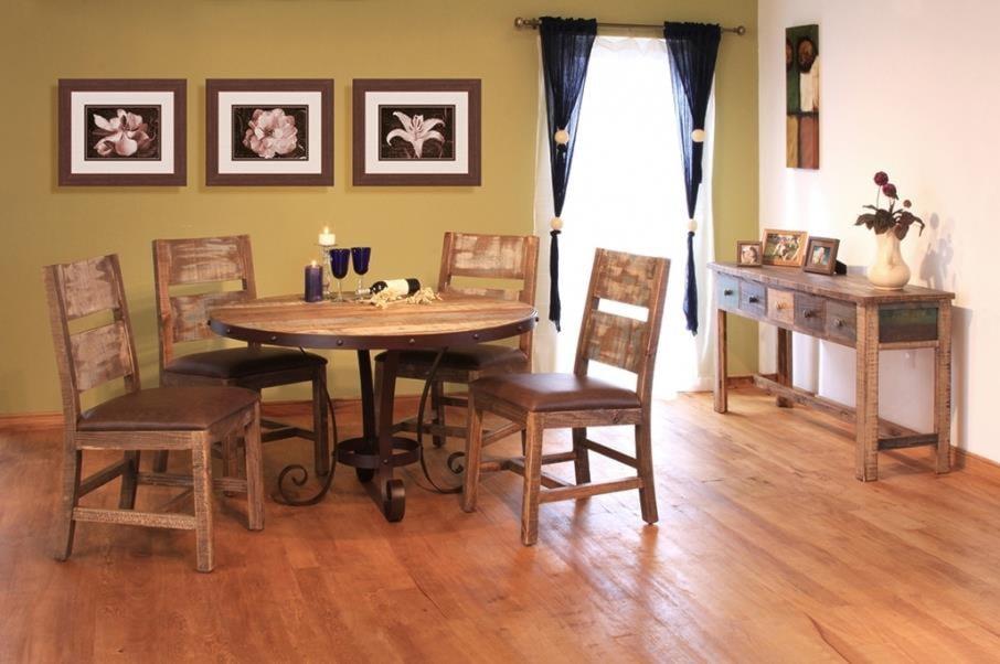 International Furniture Direct 900 Antique5 Piece Table & Chair Set