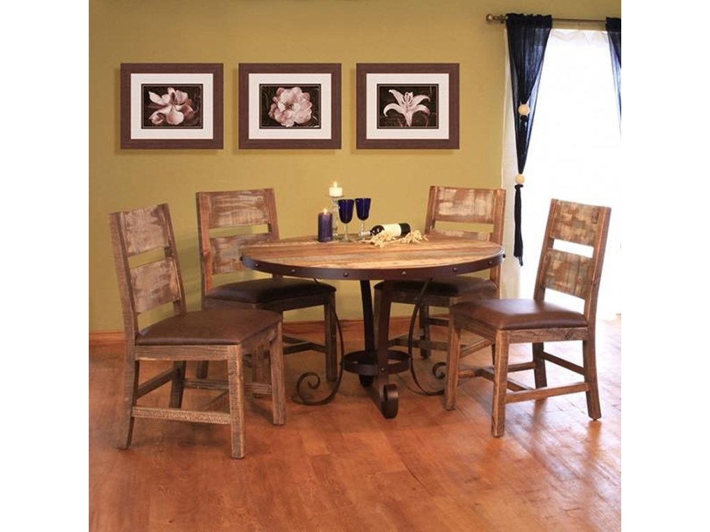International Furniture Direct 900 Antique5 Piece Table & Chair Set