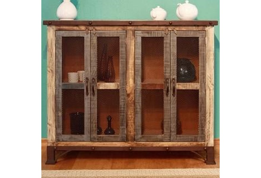 900 Antique Rustic Multicolor Console with 4 Iron Mesh Doors by  International Furniture Direct at Dunk & Bright Furniture