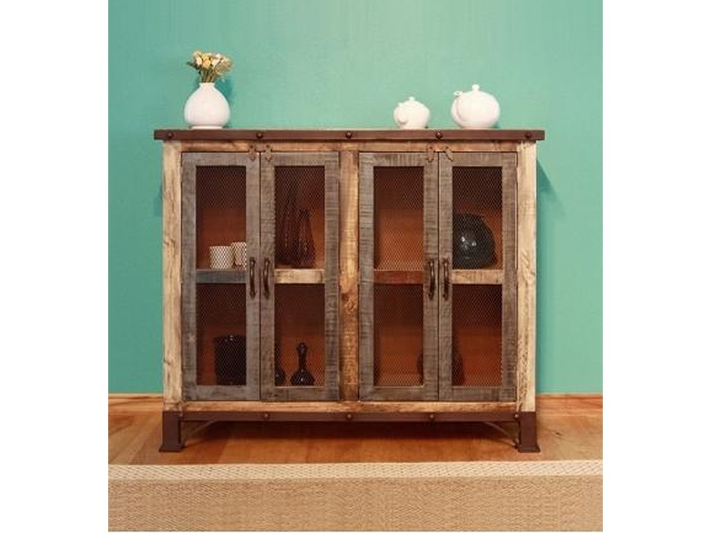 VFM Signature 900 AntiqueMulticolor Console with 4 Iron Mesh Doors