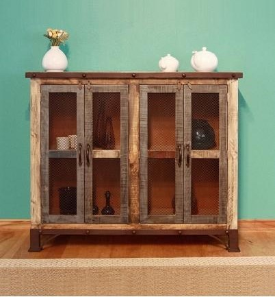 International Furniture Direct 900 AntiqueMulticolor Console with 4 Iron Mesh Doors