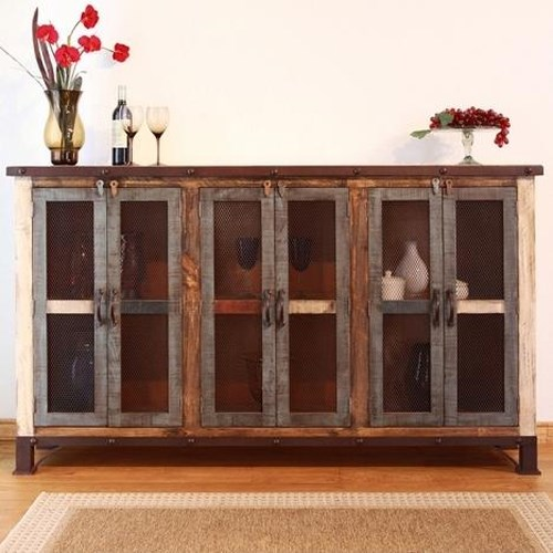 International Furniture Direct 900 Antique Casual Multicolor Console with 6 Iron Mesh Doors