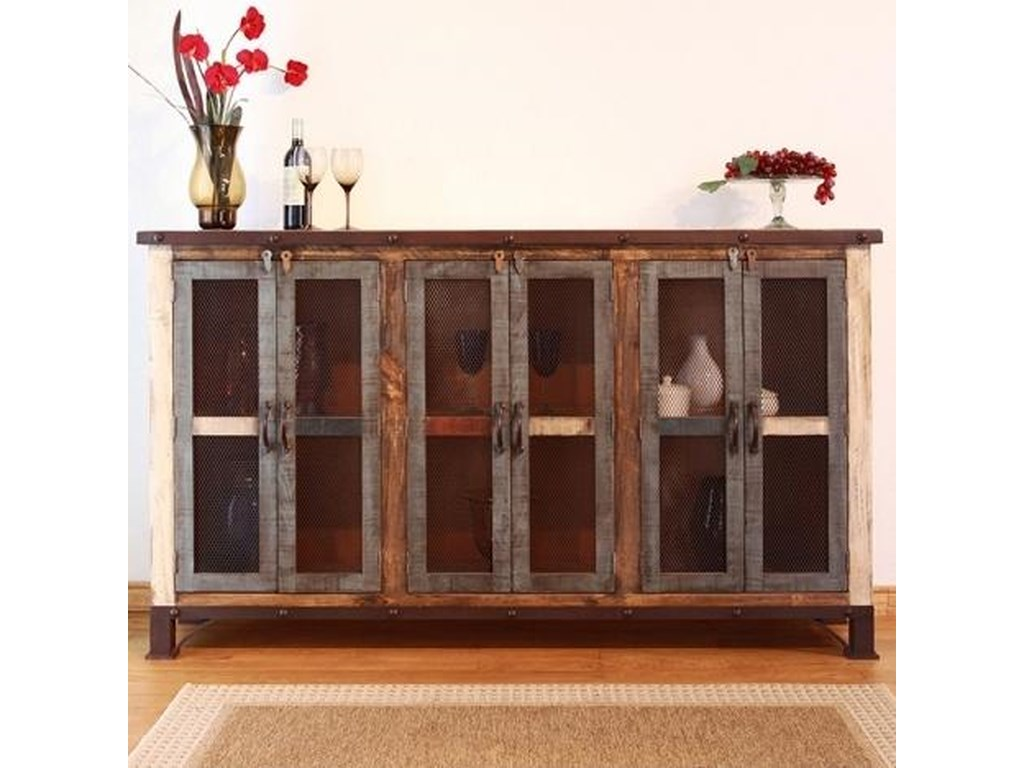 International Furniture Direct 900 AntiqueMulticolor Console with 6 Iron Mesh Doors