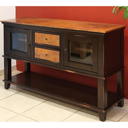 International Furniture Direct 960 Copper Ridge Server w/ Lower Shelf