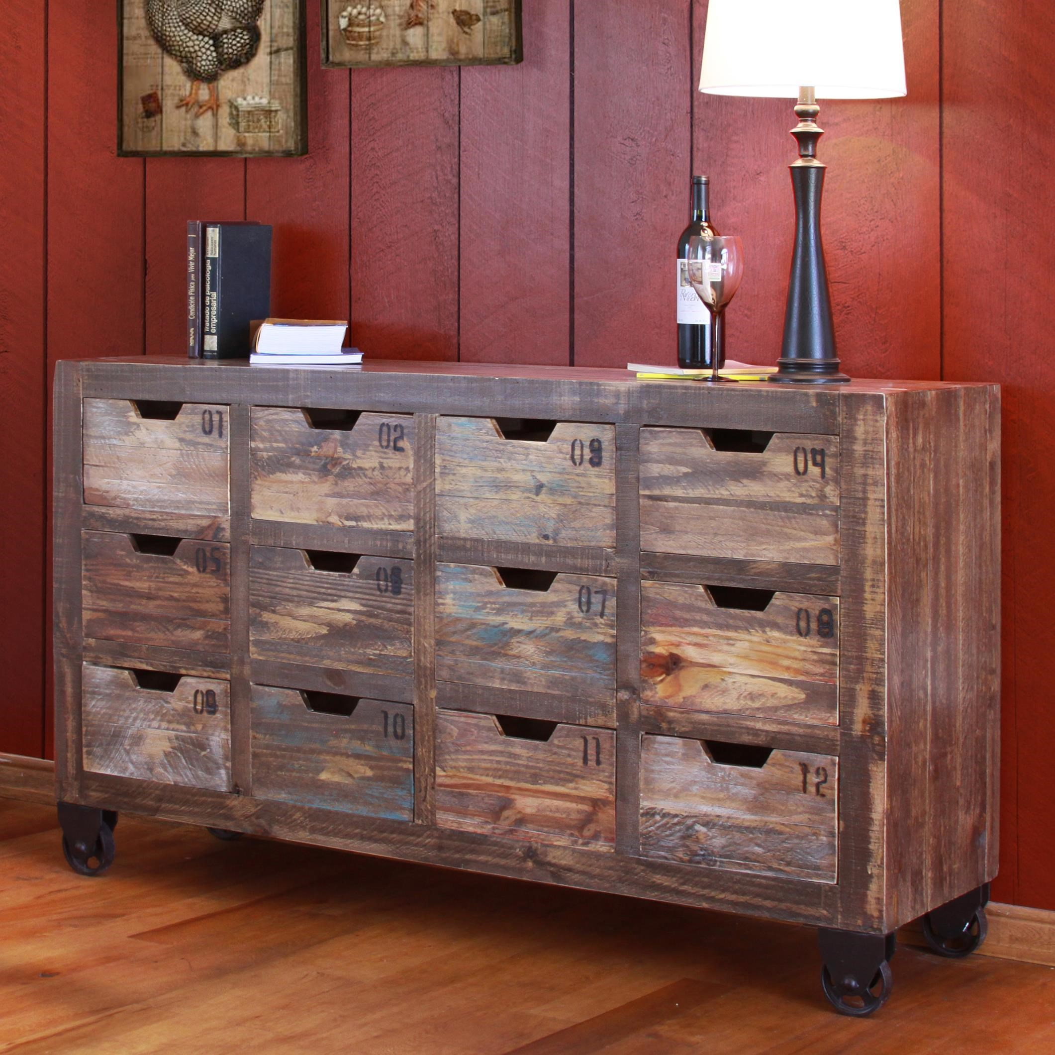 International Furniture Direct Consoles Multi Drawer Console With 12 Drawers