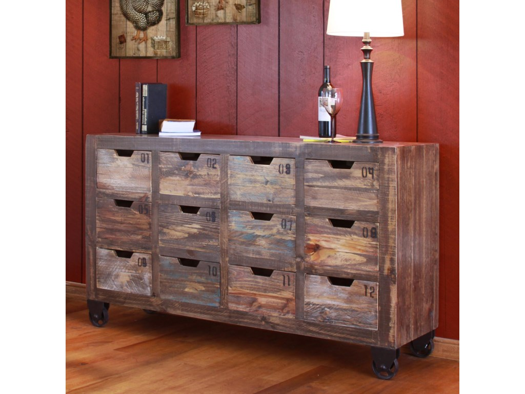 International Furniture Direct ConsolesMulti-Drawer Console with 12 Drawers