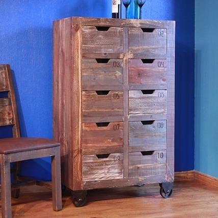 International Furniture Direct Consoles 10 Drawer Console with Multicolor Finish