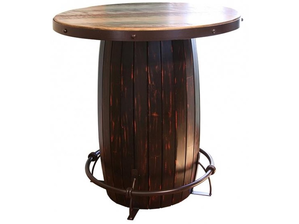 International Furniture Direct 967Bistro Barrel Bar Table