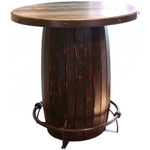 International Furniture Direct 967 Bistro Table Barrel w/ Iron footrest