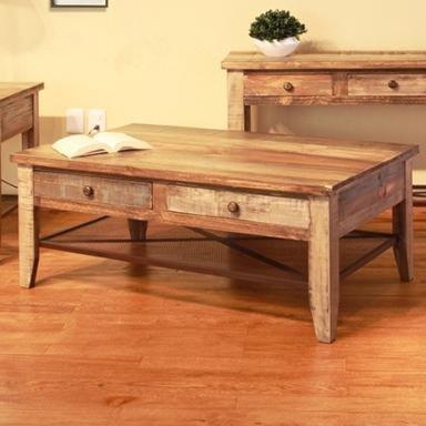 International Furniture Direct 968 Cocktail Table w/ 4 Drawers & Iron Mesh Shelf