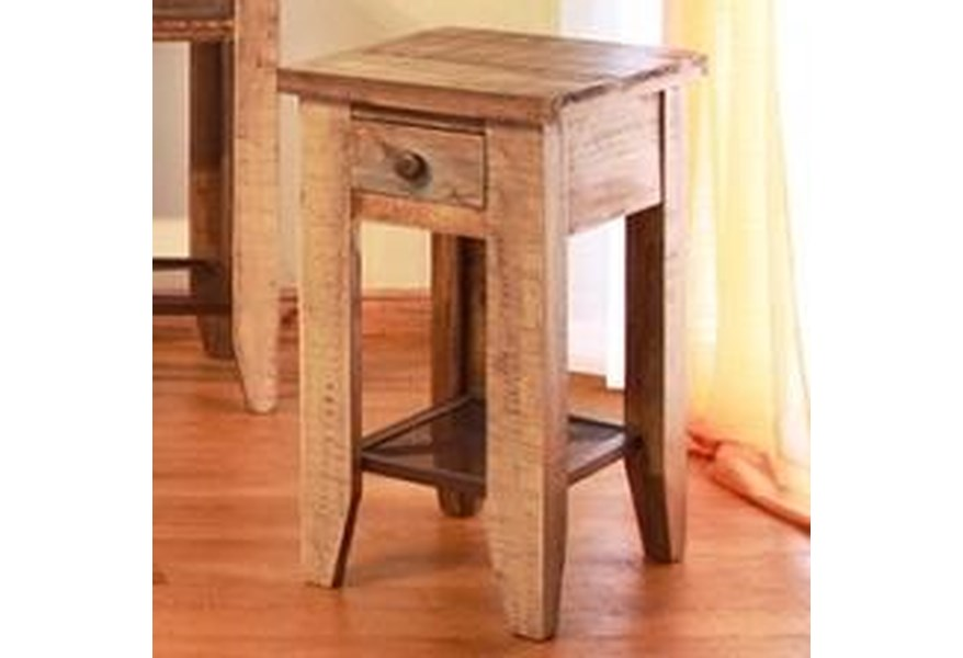 968 Chair Side Table w/ 1 Drawer & Iron Mesh Shelf by International  Furniture Direct at Furniture and ApplianceMart