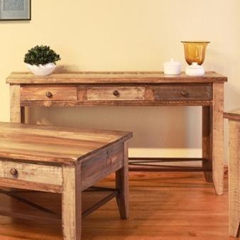International Furniture Direct 968 Sofa Table w /3 Drawers & Iron Mesh Shelf