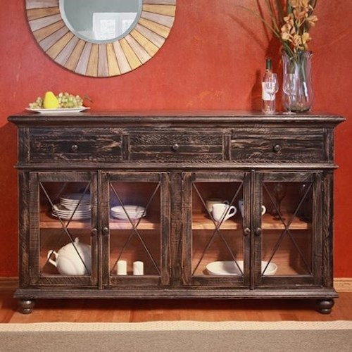 International Furniture Direct Vintage Primitive Console with 4 Glass Doors