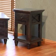 International Furniture Direct Vintage Chair Side Table with 1 Drawer and 1 Shelf