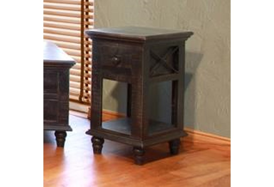 Vintage Chair Side Table with 1 Drawer and 1 Shelf by International  Furniture Direct at Dunk & Bright Furniture