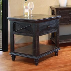 International Furniture Direct Vintage End Table with 1 Drawer and 1 Shelf