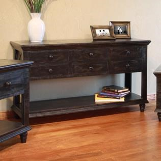 International Furniture Direct Vintage6 Drawer Sofa Table