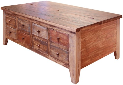 International Furniture Direct Antique Cocktail Table with 8 Drawer and Lift Top