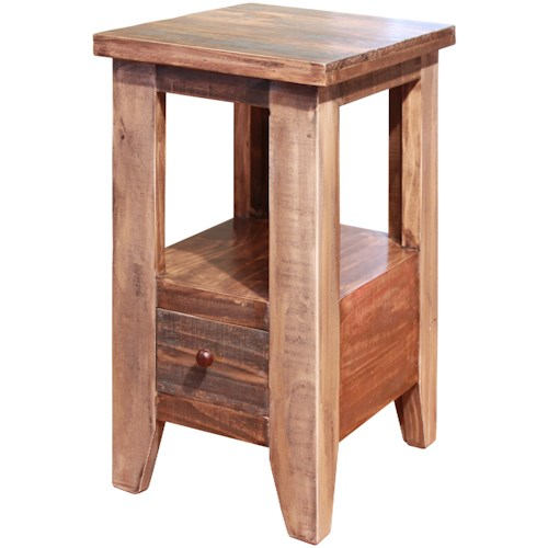 International Furniture Direct Antique Chair Side Table with 1 Drawer
