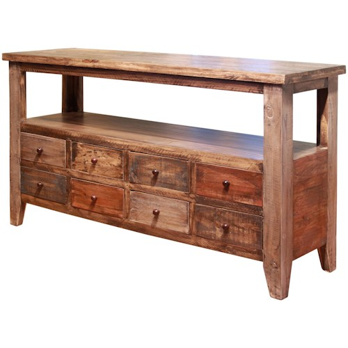 International Furniture Direct Antique Sofa Table with 8 Drawers