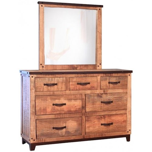 International Furniture Direct Maya Rustic Style 7 Drawer Dresser and Mirror Set