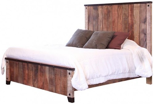 International Furniture Direct Maya Rustic Style Queen Bed with Iron Details