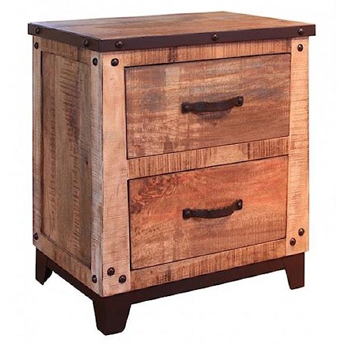 International Furniture Direct Maya 2 Drawer Nightstand with Iron Trim and Nail Head Details