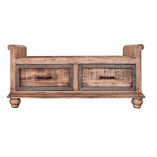 International Furniture Direct Praga  Bedroom Bench with 2 Drawers