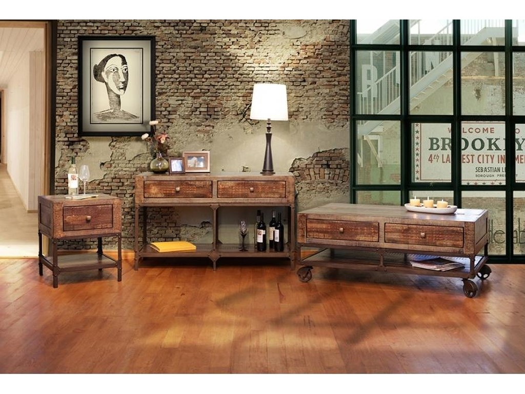 International Furniture Direct Urban GoldSofa Table with 2 Drawers