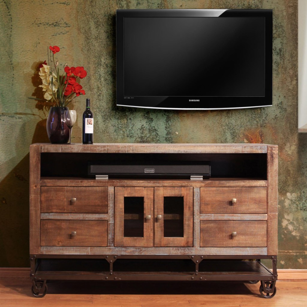 solid wood tv stand International Furniture Direct Urban Gold IFD560STAND 62 62