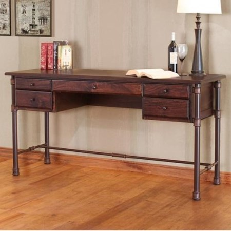 Desk with Mango Wood Top and Iron Base