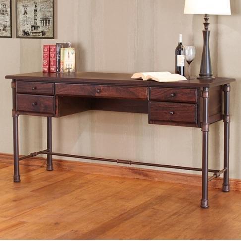 International Furniture Direct Mango DeskDesk With Mango Wood Top And Iron  Base ...